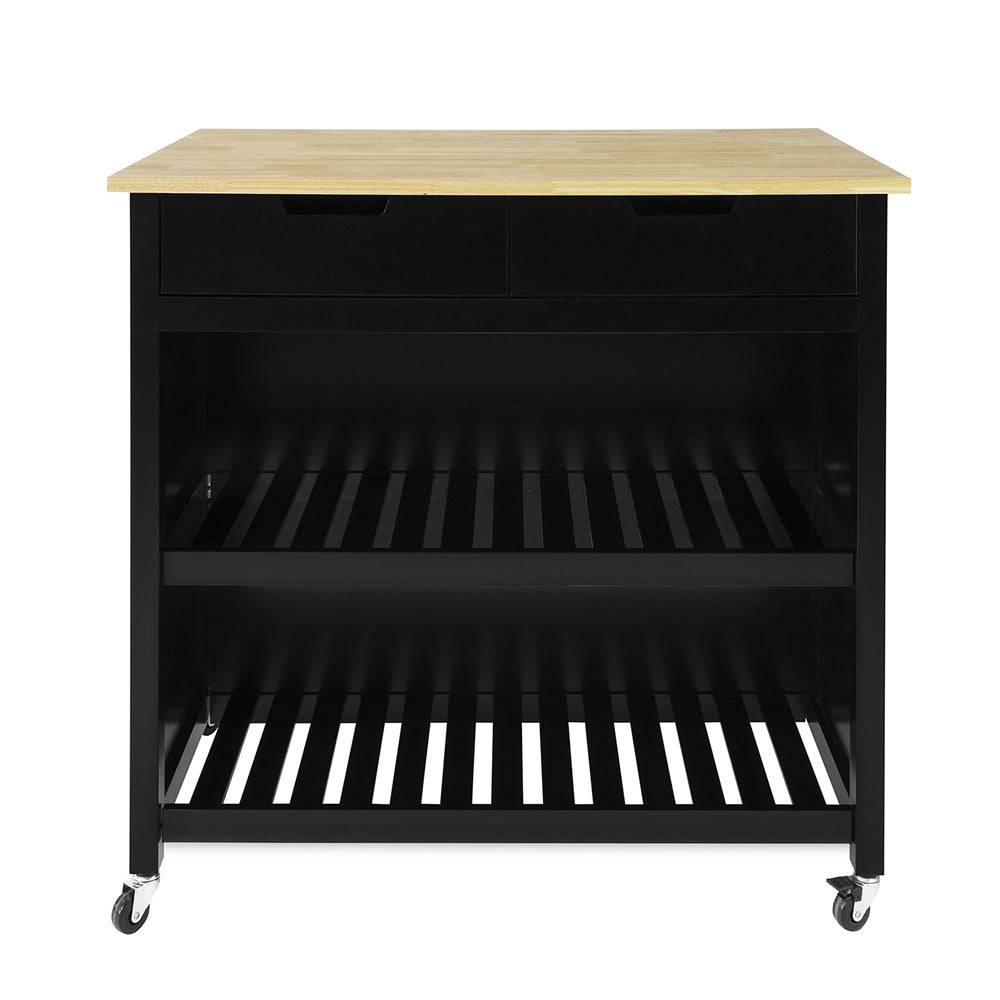 SoBuy Peninsula Kitchen Worktop for Kitchen with 2 drawers with 2 shelves L100 * P60 * A94CM, black FKW74-SCH