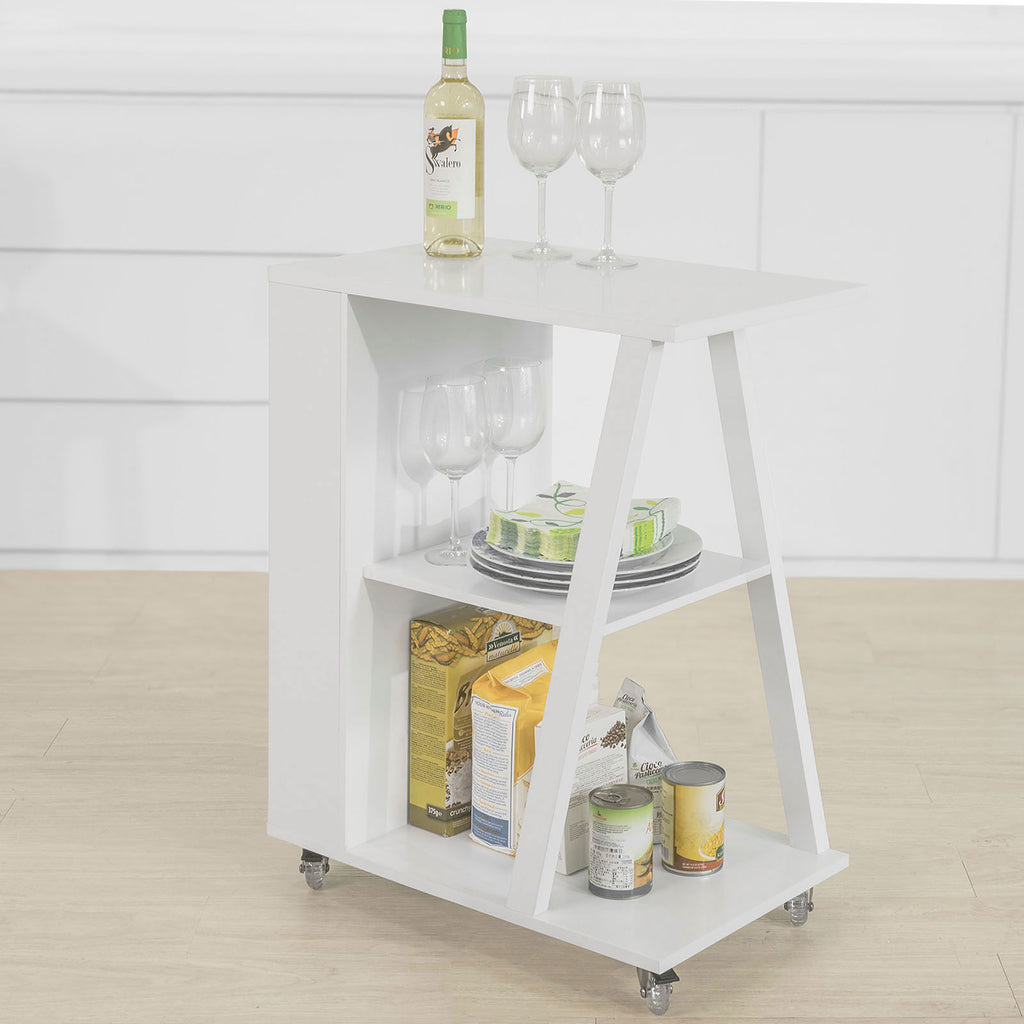 SoBuy Sofa Table with Wheels Kitchen Trolley W38 * D60 * H77cm White FKW77-W
