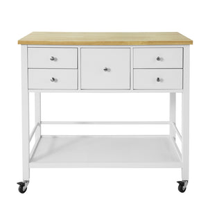 SoBuy Sideboard console table with wheels Peninsula Kitchen L97 * H87 * D45cm, in Wood, White, FKW80-WN
