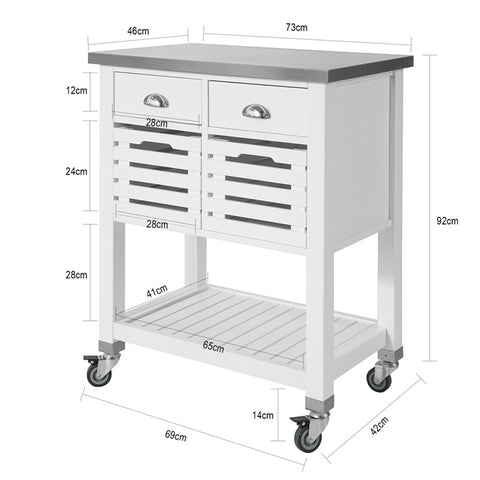 SoBuy Steel Kitchen Cart Space-saving kitchen cabinet with 2 baskets and 2 drawers White Steel Top L73 * P46 * H92 cm FKW83-W