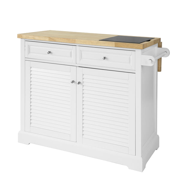 SoBuy Kitchen Sideboard with Wheels Kitchen Peninsula with Extendable Worktop FKW84-WN