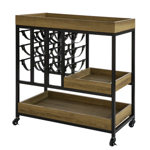 SoBuy Bar Corner for Home Vintage Space-saving Kitchen Cart with Bottle Holder and 3 Removable Trays FKW86-N