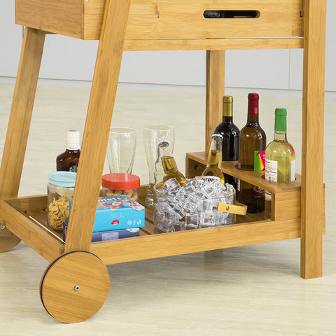 SoBuy Beautician Cart with Wheels Food Cart in Solid Bamboo Wood L47 * W90 * H85cm, FKW89-N