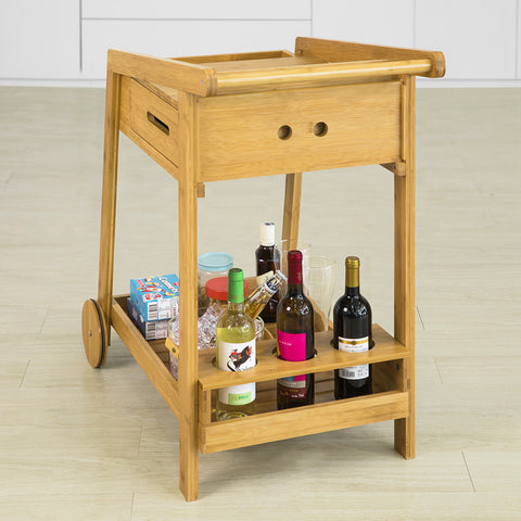 SoBuy Beautician Cart with Wheels Food Cart σε μασίφ μπαμπού ξύλο L47 * W90 * H85cm, FKW89-N