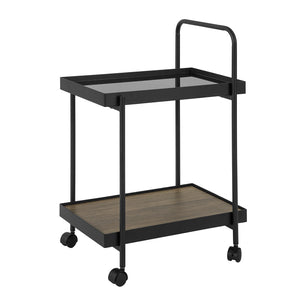 SoBuy Beauty Salon Trolley with Wheels Metal and Black Glass Food Trolley W34 * D50 * H74 cm, FKW91-SCH