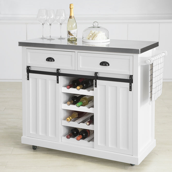 SoBuy Shabby Showcase Kitchen Sideboard Kitchen Island with Wheels L116 * D46 * H95 cm white FKW94-W