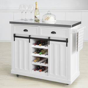 SoBuy Kitchen sideboard Shabby showcase Kitchen island with wheels L116 * P46 * H95 cm white FKW94-W