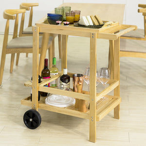 SoBuy Food trolley Space saving kitchen in solid pine wood FKW95-N