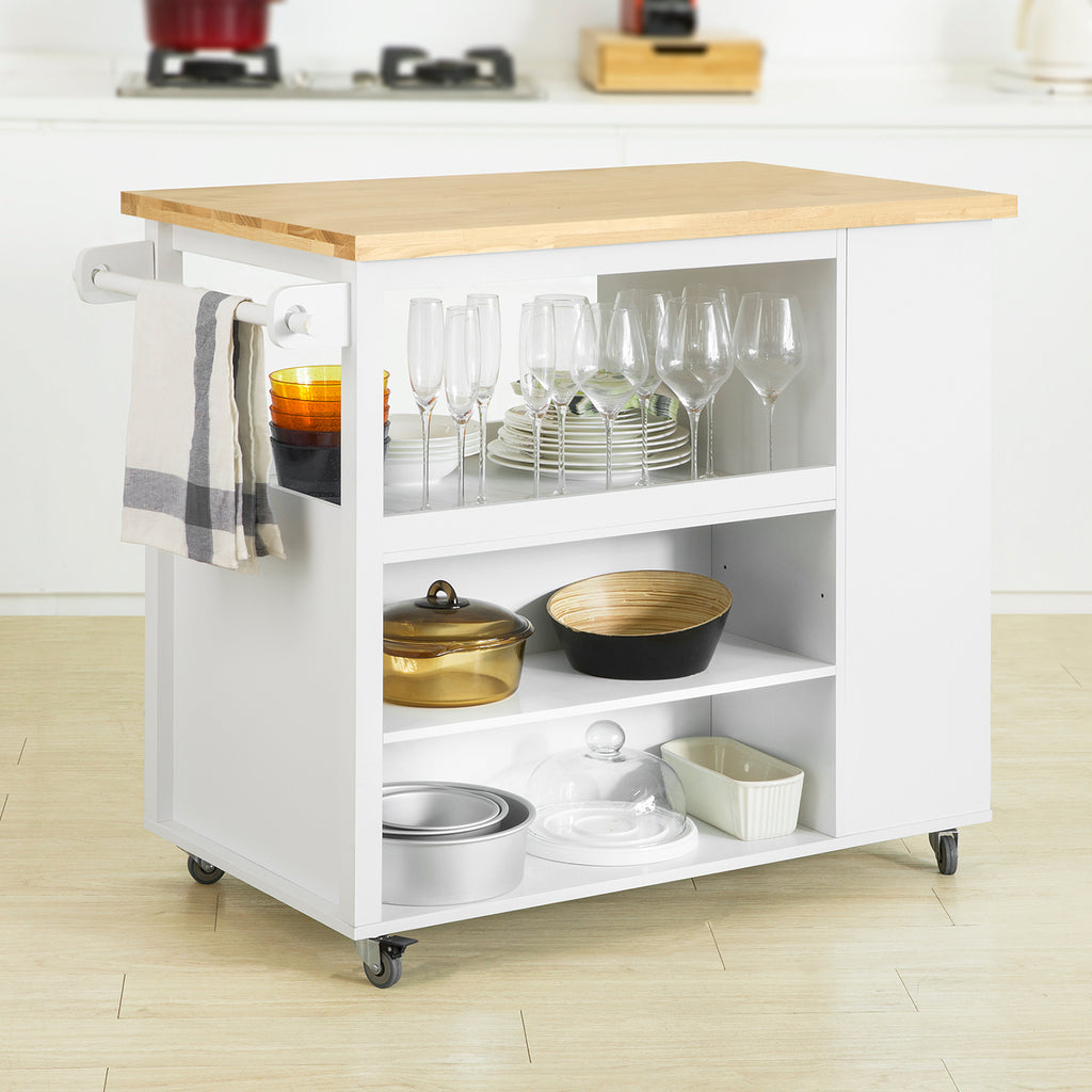 SoBuy Kitchen Trolley Kitchen Sideboard with 3 Shelves 108x60x90cm FKW97-WN