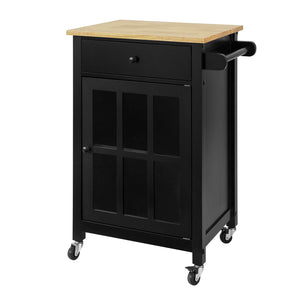 SoBuy Kitchen Sideboard Wood American Style Kitchen Trolley with Wheels Black Hevea Solid Wood Top W63 * D46 * H88 cm FKW98-SCH