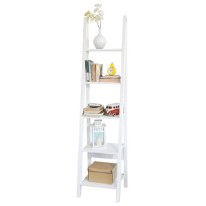 SoBuy Bookshelf Ladder Bookcase White Ladder Bookcase Frg101-W