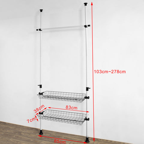 SoBuy Walk-in Closet Wardrobe Sectional Coat Rack White Frg107