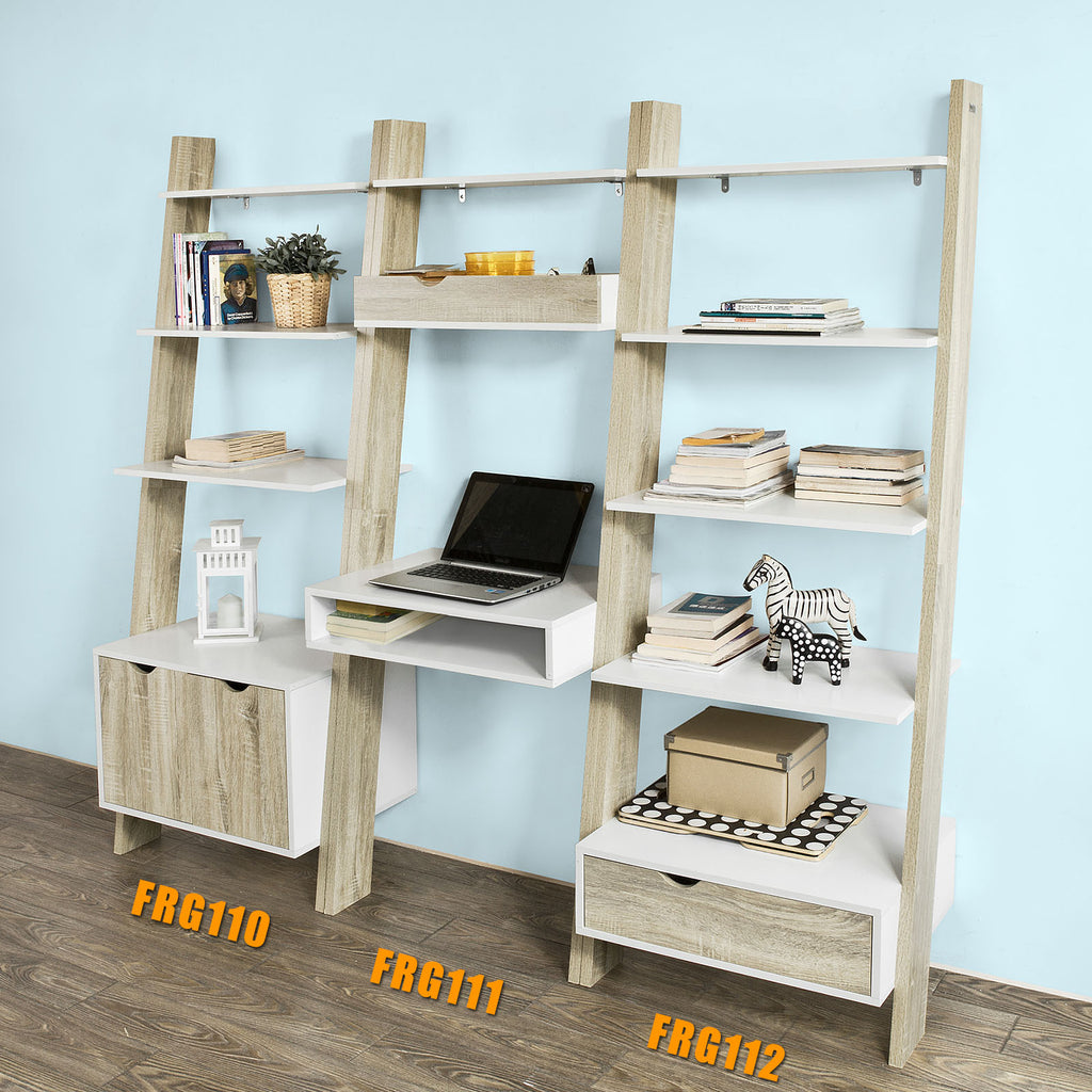 SoBuy Bookshelf Ladder Bookcase White Ladder Bookcase Frg111-Wn