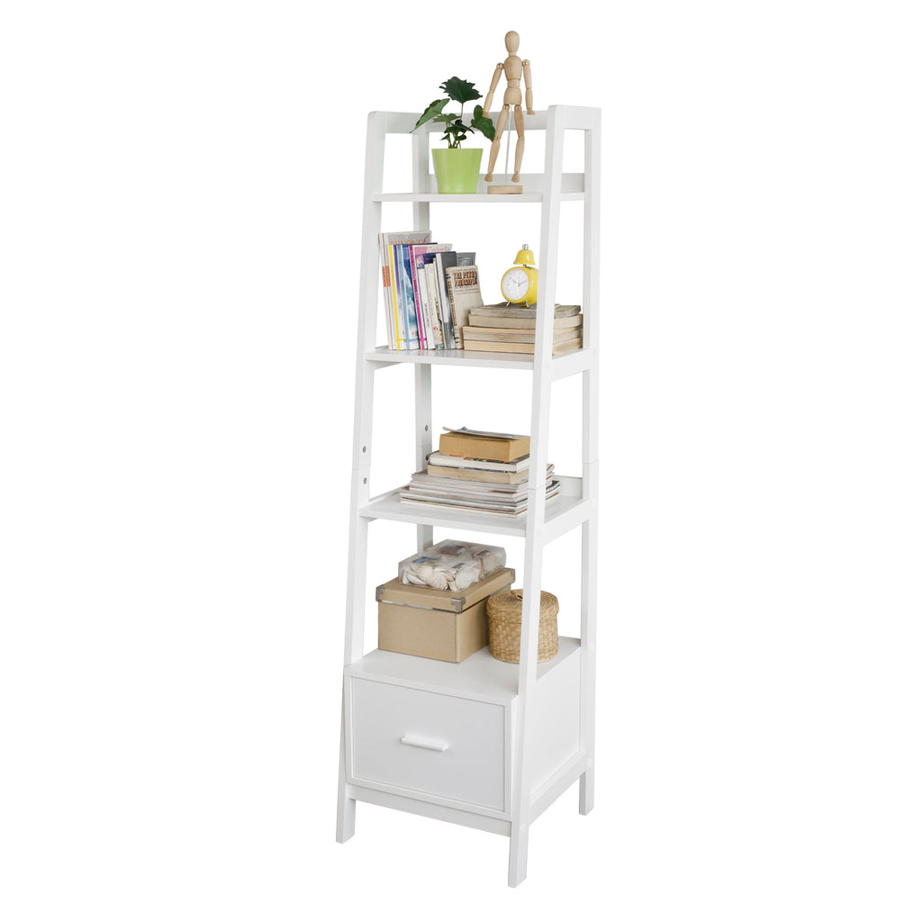 SoBuy Bookshelf Ladder Bookcase White Ladder Bookcase Frg116-KW