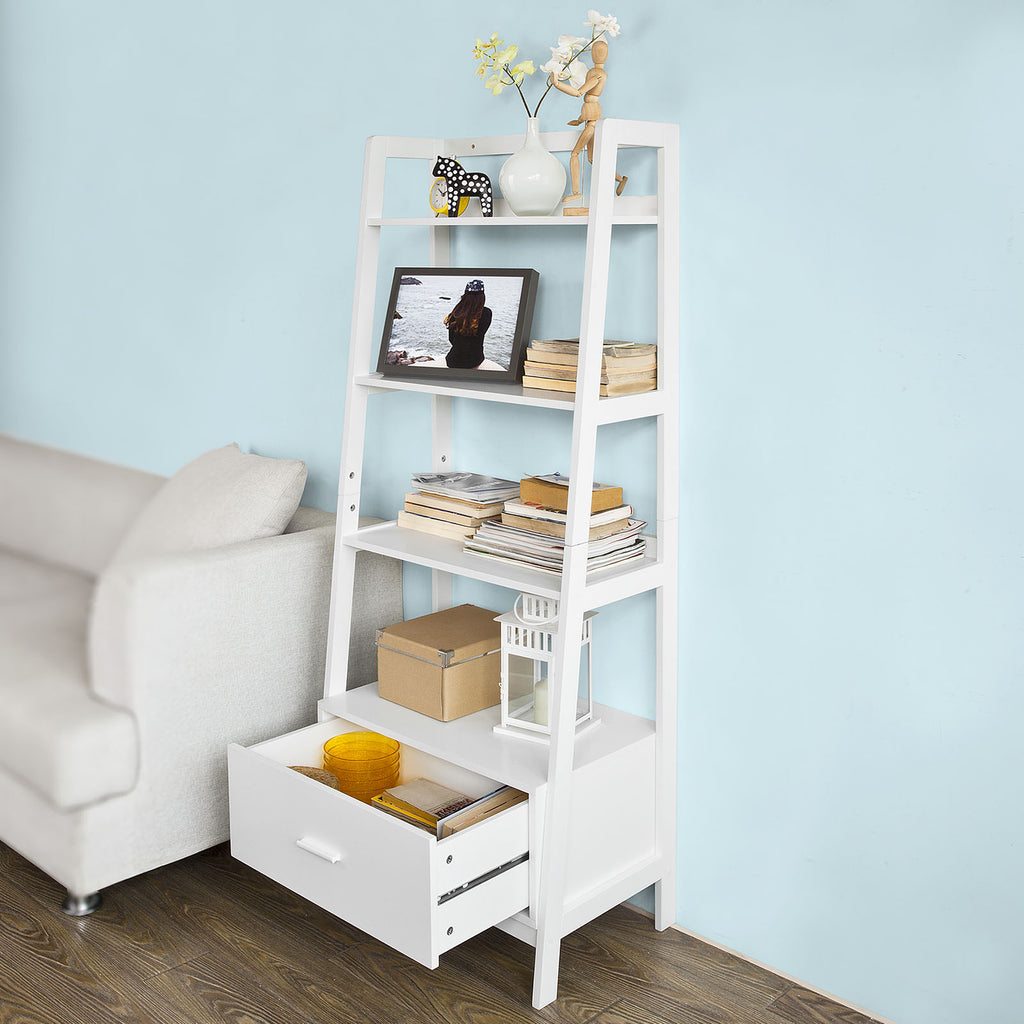 SoBuy Bookshelf Ladder Bookcase White Ladder Bookcase Frg116-W