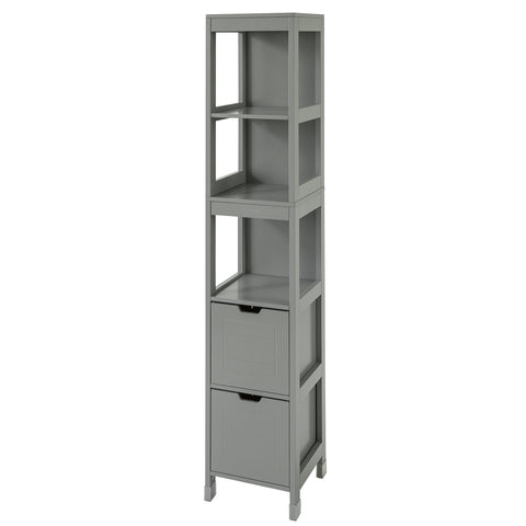 SoBuy Bathroom cabinet Column bathroom cabinet Space-saving Gray W30 * D30 * H145 cm FRG126-SG