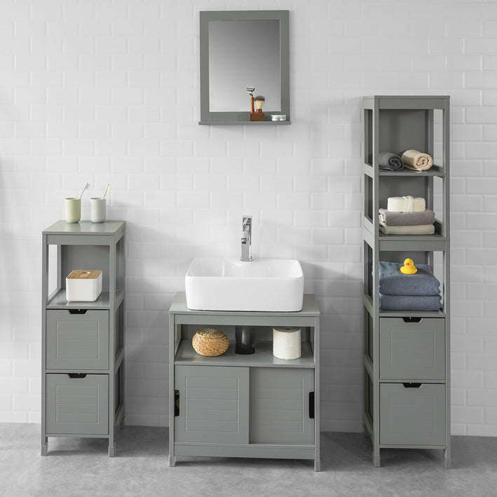 SoBuy Bathroom Mirror with shelves L40 * H50 cm with shelf Towel Holder Gray FRG129-SG