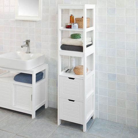 SoBuy Bathroom Cabinet Column Bathroom White Bathroom Drawer With Drawers Frg126-W