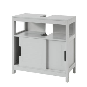 SoBuy Vanity unit for bathroom with two sliding doors and shelf W60 * D30 * H61 cm Gray FRG128-HG