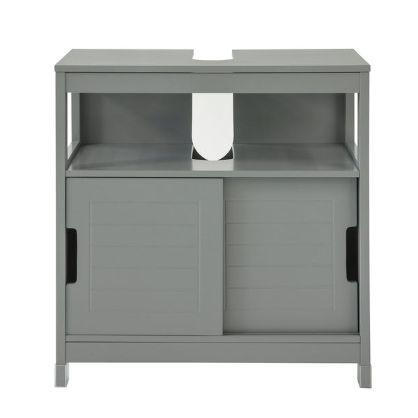 SoBuy Vanity unit for bathroom with two sliding doors and shelf W60 * D30 * H61 cm Gray FRG128-SG
