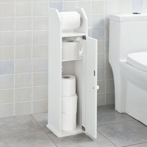 SoBuy Free Standing Bathroom Furniture Bathroom Space-saving Roll Holder White Frg135-W