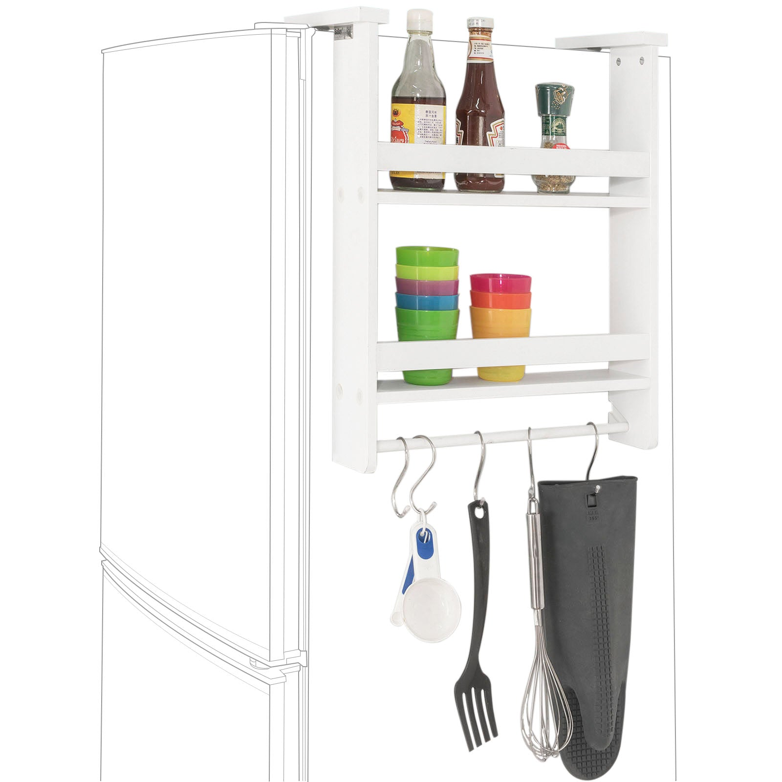 SoBuy Corner Shelves For Space-saving Wall Kitchen Storage To Hang White Frg149-W