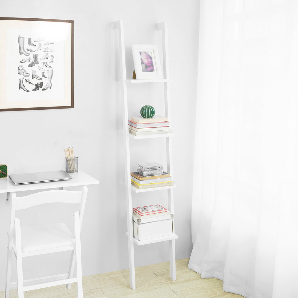 SoBuy Bookshelf Ladder Bookcase White Ladder Bookcase Frg15-W