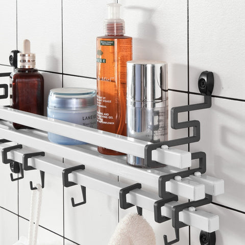 SoBuy Towel Holder, Wall Shelf, Bath Monsoon, Black and White, FRG173-W