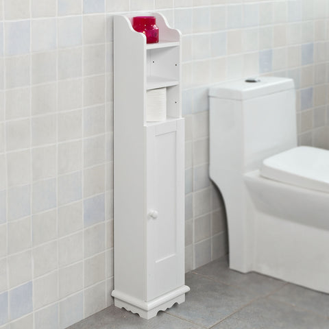 SoBuy Free Standing Bathroom Furniture Bathroom Space-saving Roll Holder White Frg177-W