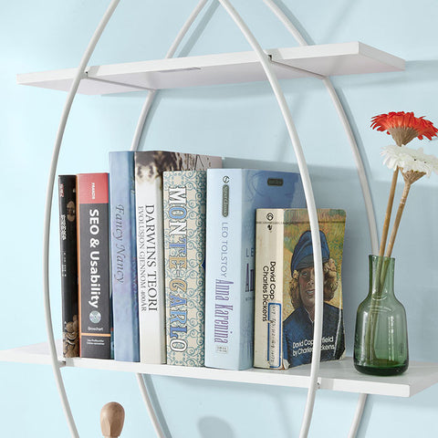 SoBuy Set of 3 White Wall Shelves Modern Bookshelf Fish Shape, Wood and Iron FRG192-W