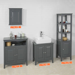 SoBuy Vanity unit for Bathroom with 2 Doors, Without sink, W60 * D30 * H62cm Gray FRG202-DG