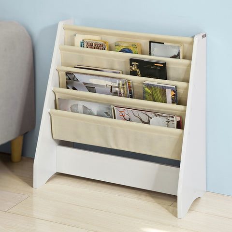 SoBuy Bookshelf Ground Magazine Rack 4 Compartments FRG225-W