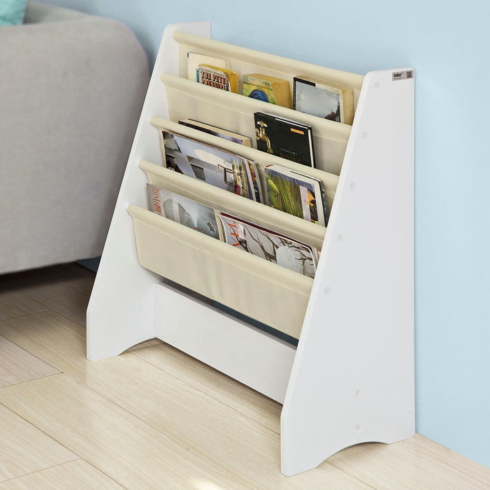 SoBuy Bookshelf Magazine Rack Floor Standing Magazine Shelf 4 Compartments FRG225-W