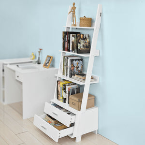 SoBuy Bookshelf Ladder Bookcase White Ladder Bookcase With Drawers Frg230-W