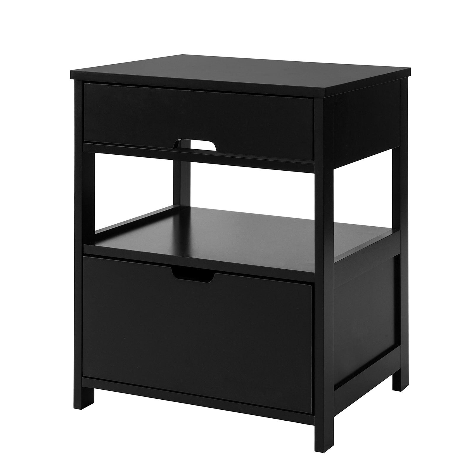 SoBuy Bedroom Bedside Table with 2 drawers W45 * D38 * H50 cm, black FRG258-SCH