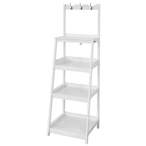 SoBuy Ladder Shelf for Bathroom or Hallway with 4 Shelves and 3 Towel Hooks White FRG279-W