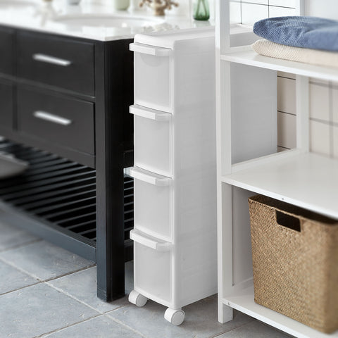 SoBuy Space Saving Bathroom Cabinet Space Saving Bathroom Storage Tray White Frg41-W
