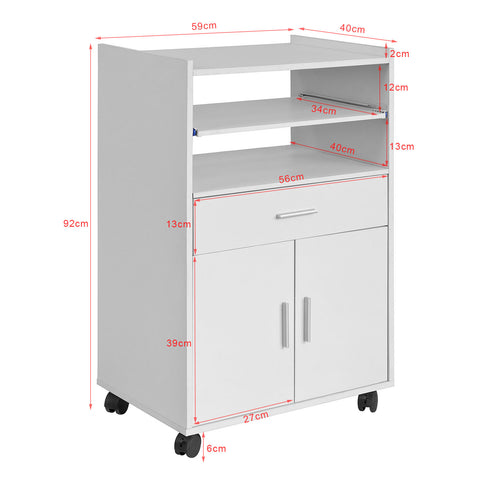 SoBuy Kitchen Cabinet Kitchen Trolley Microwave White With Drawers Fsb09-W