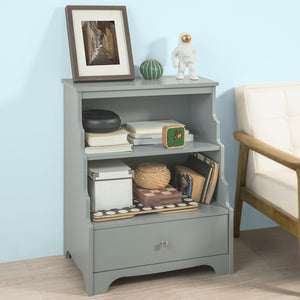 SoBuy Low Bookcase Ladder Shelf Gray Ladder Bookcase With Drawers Fsb13-Hg