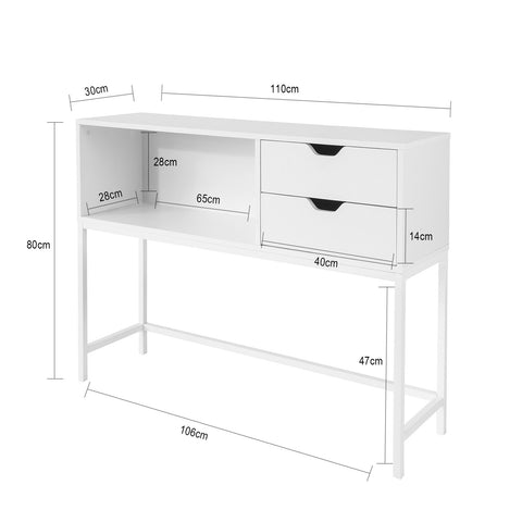 SoBuy Entrance Console Cabinet with space-saving drawers L110 * P30 * H80 cm, White FSB20-W