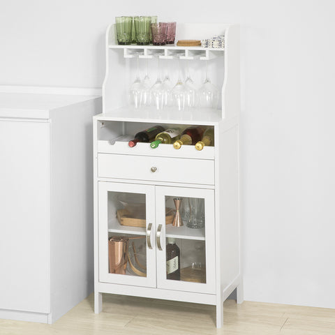 SoBuy Wine Cabinet Wine Rack White Sideboard with Cup Holder and Cabinet FSB24-W