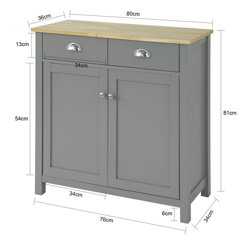SoBuy Living Room Sideboard Living Room Showcase Gray with 2 drawers and 2 Doors W80 * D36 * H81 cm FSB25-HG