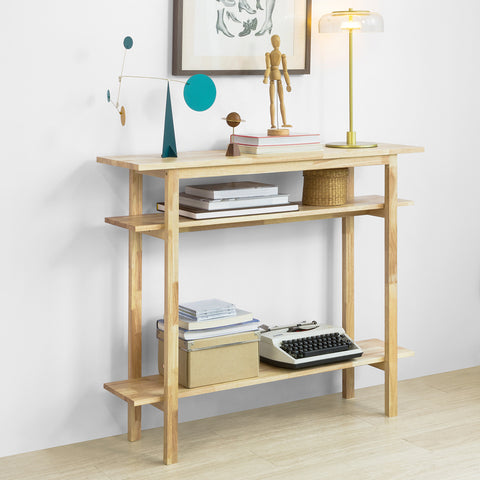 SoBuy Hevea Solid Wood Entrance Console Table with 3 Tops FSB30-N