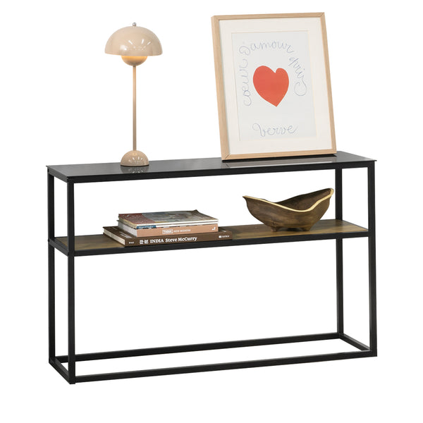 SoBuy Vintage Console Table with Glass Surface Metal Entrance Table L110xP30xH70cm, FSB43-SCH