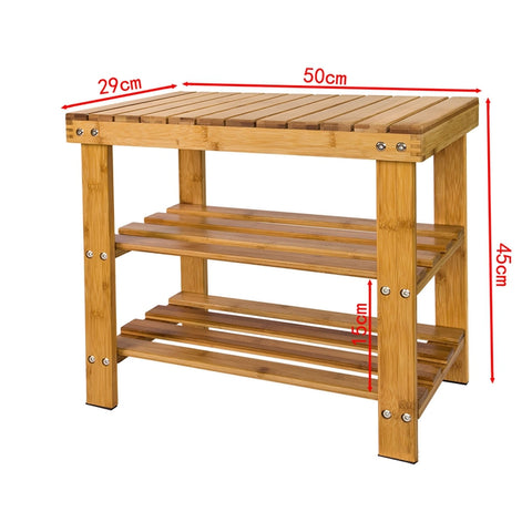 SoBuy Shoe rack, entrance shoe rack, W50 * D29 * H45 cm, bamboo FSR02-Kn