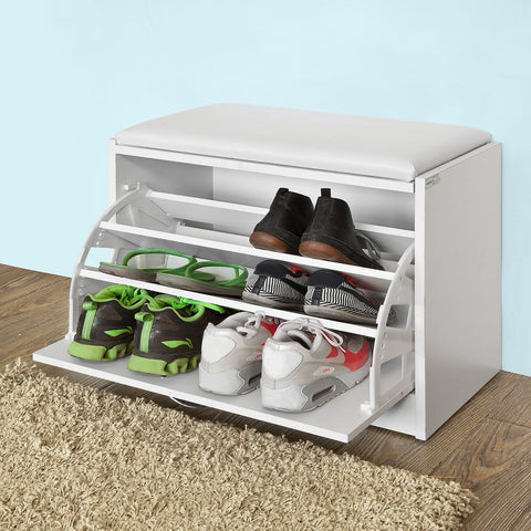 SoBuy Shoe Rack Bench Shoe Rack White With Seat Fsr16-W