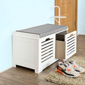 SoBuy Shoe Rack Bench Shoe Rack White With Seat Fsr23-KW