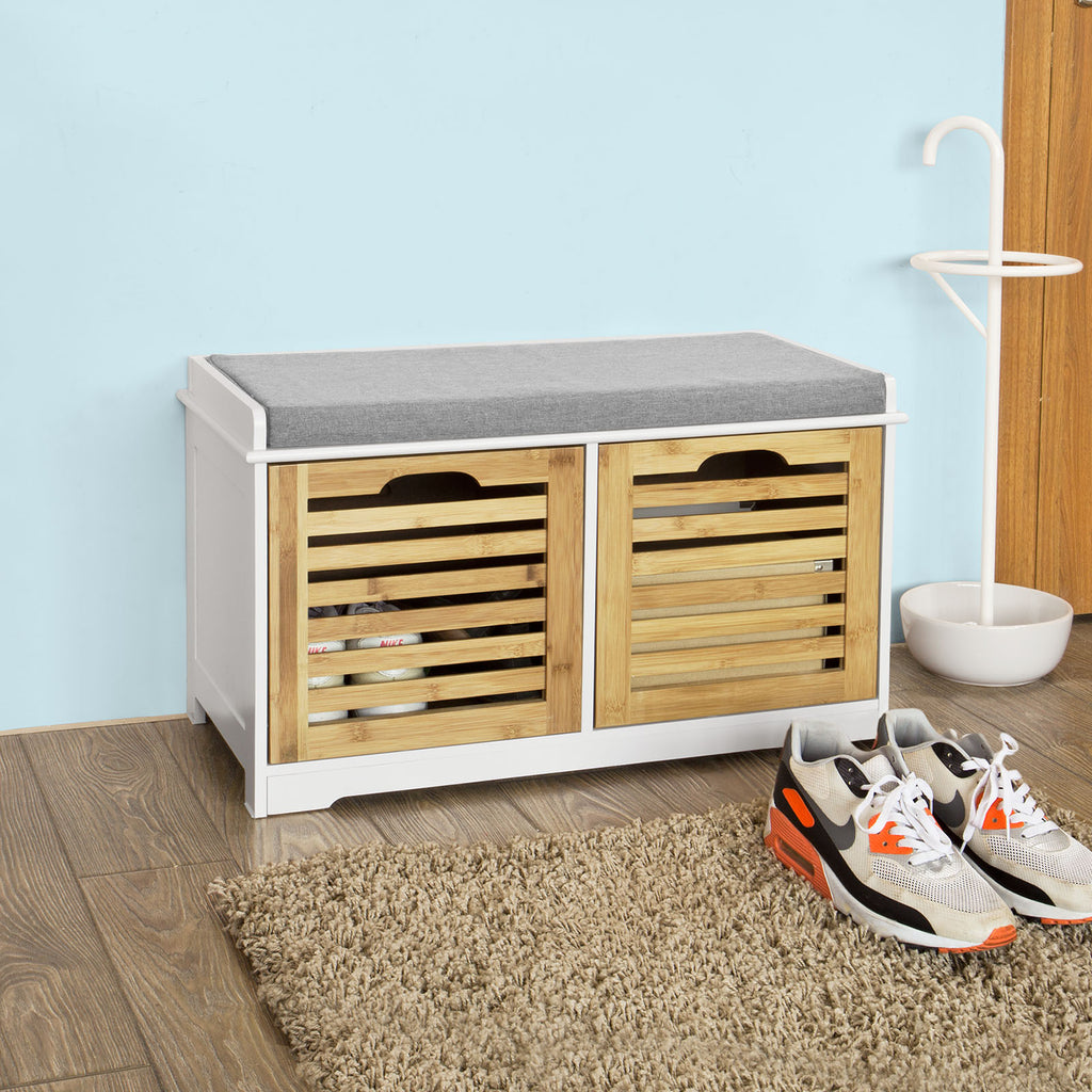 SoBuy Shoe Rack Bench Shoe Rack White With Seat Fsr23-K-Wn