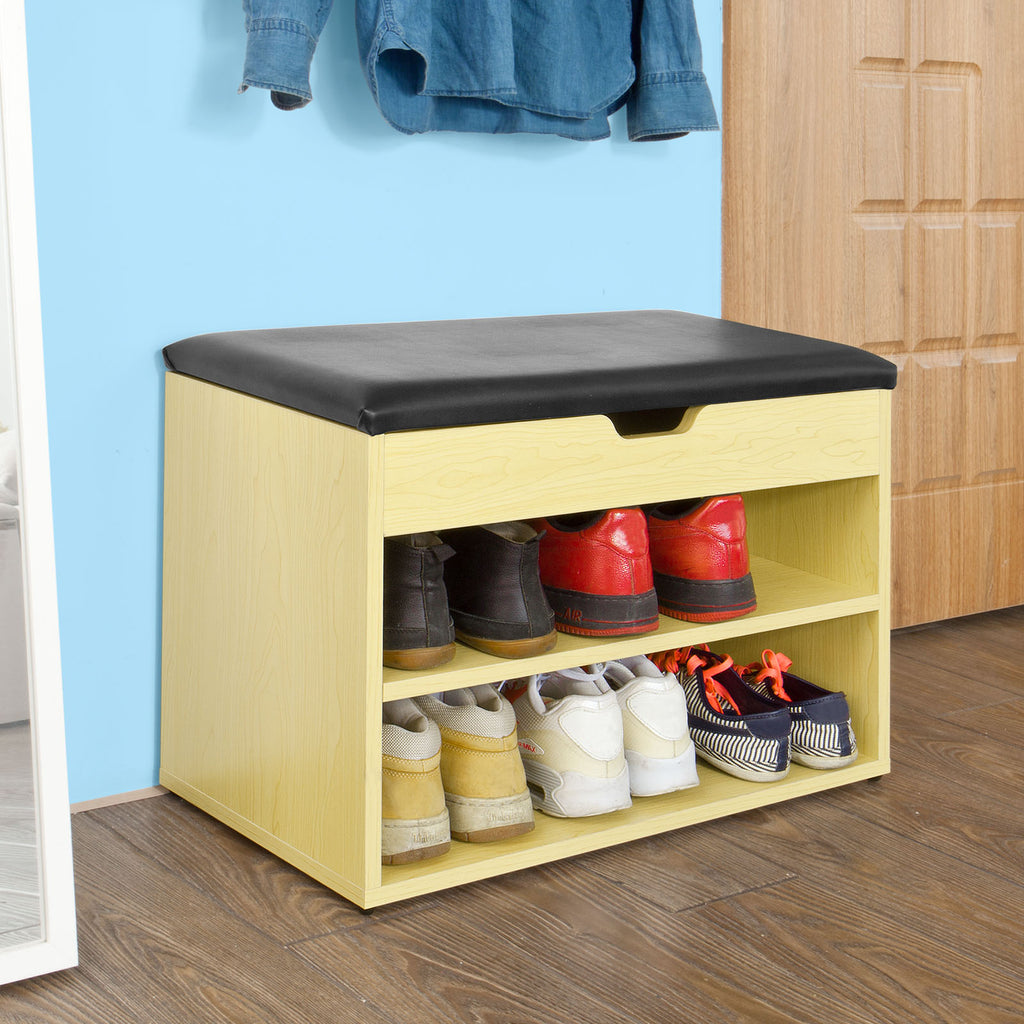 SoBuy Shoe Rack Bench Shoe Rack Wooden Shoe Rack With Seat FSR25-N