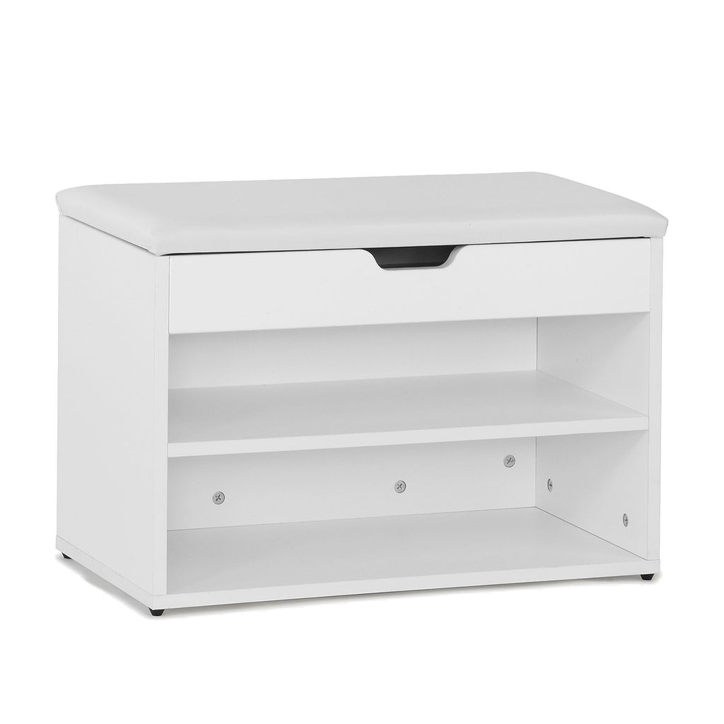 SoBuy Shoe Rack Bench Shoe Rack White With Seat Fsr25-W